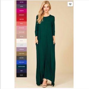 Dresses & Skirts - Hunter Green 3/4 Sleeve Maxi Dress with Pockets